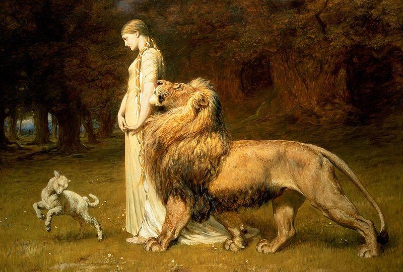 Una and the Lion by Briton Riviere