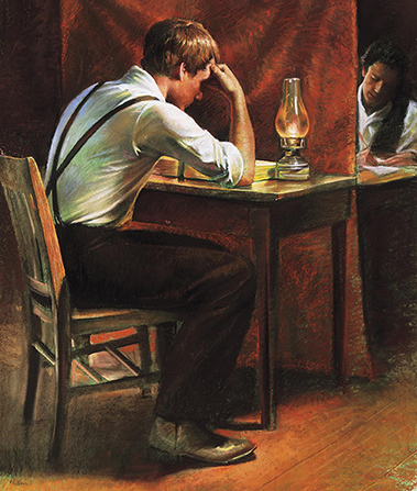 Joseph Smith translating the Book of Mormon.