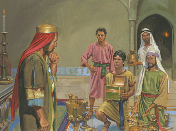 Lehi's sons offering riches to Laban
