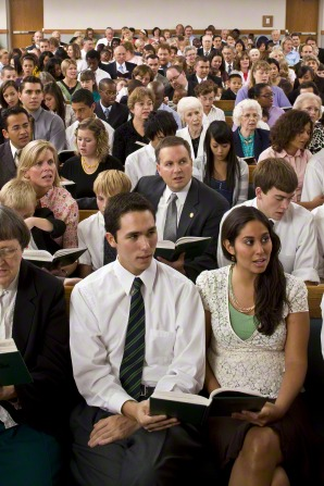 Latter-day Saints attending Sunday worship services. Many believers attend church on a regular basis, one of the examples that God is still great in America today.