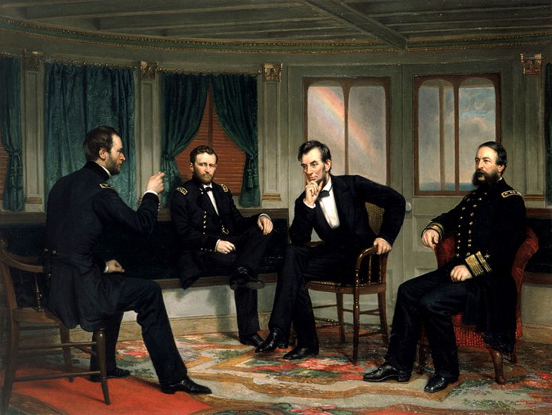 President Lincoln and other men who helped fight the American Civil War.
