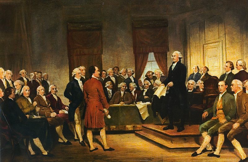 The Founding Fathers at the Constitutional Convention.