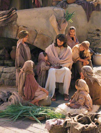 Jesus Christ teaching the children.