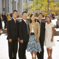A family stands in front of the Conference Center in Salt Lake City during General Conference.