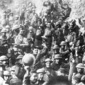 The U.S. 64th regiment celebrating the Armistice of World War I.