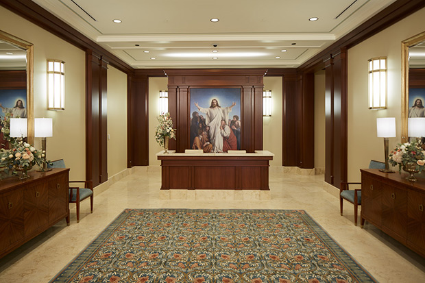 The entry of the Meridian Idaho Temple of The Church of Jesus Christ of Latter-day Saints.