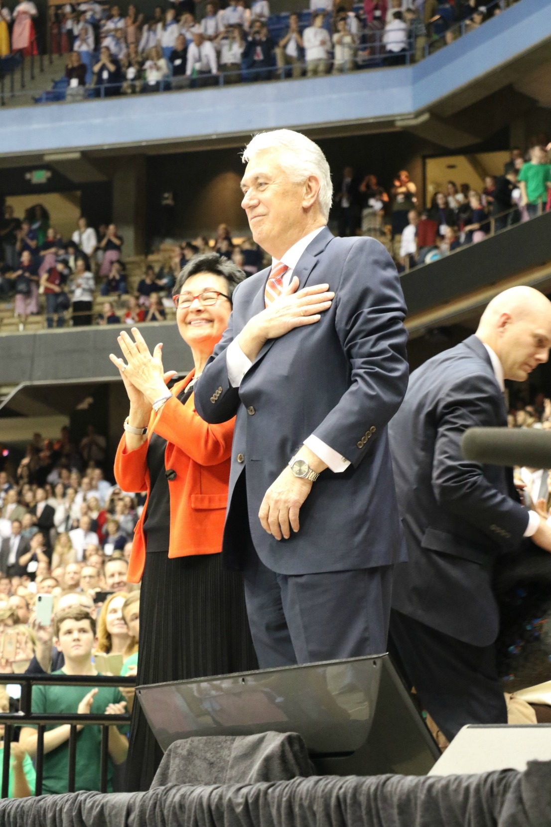 President Uchtdorf and his wife greet the youth at the Meridian Idaho Youth Cultural Celebration.