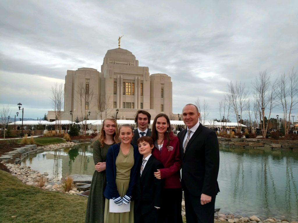 Montague family standing outside the newly dedicated Meridian Idaho Mormon Temple.