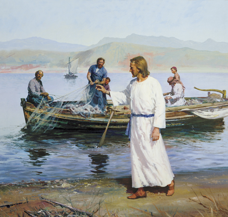 Jesus Christ calling in the fishermen.