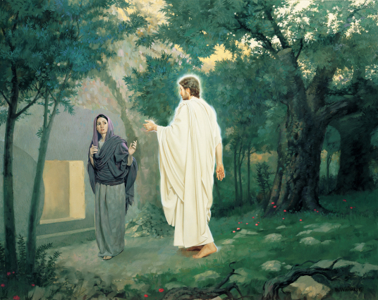 The Resurrected Jesus greets Mary in front of the empty tomb.