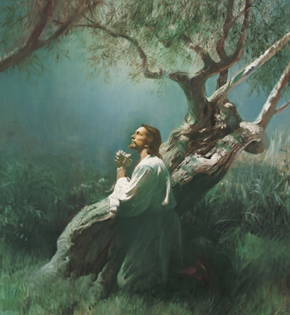 Jesus Christ praying in the Garden of Gethsemane.