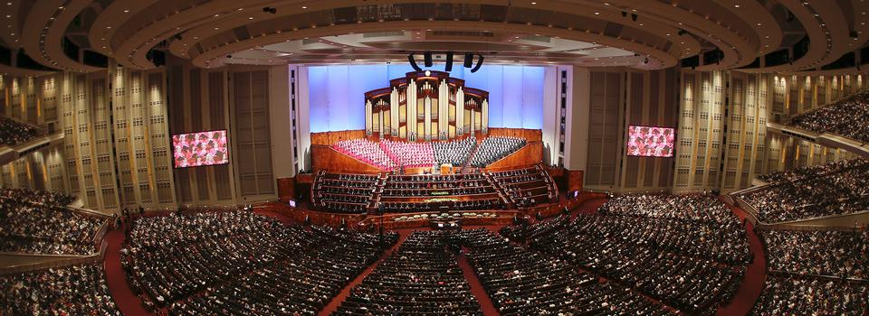 Members of The Church of Jesus Christ of Latter-day Saints gather for a session of general conference at the Conference Center in Salt Lake City April 2019.