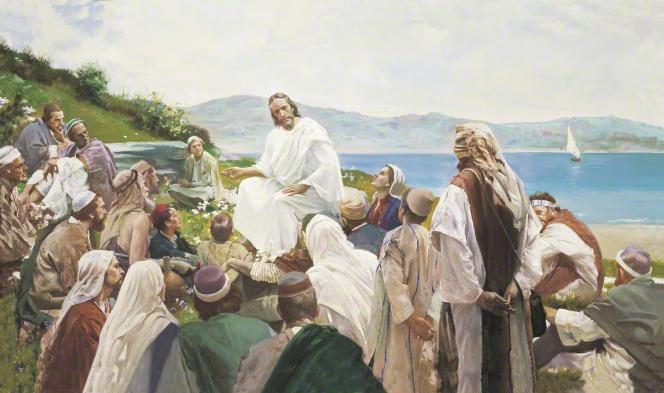 Jesus Christ teaching the people at Jerusalem.