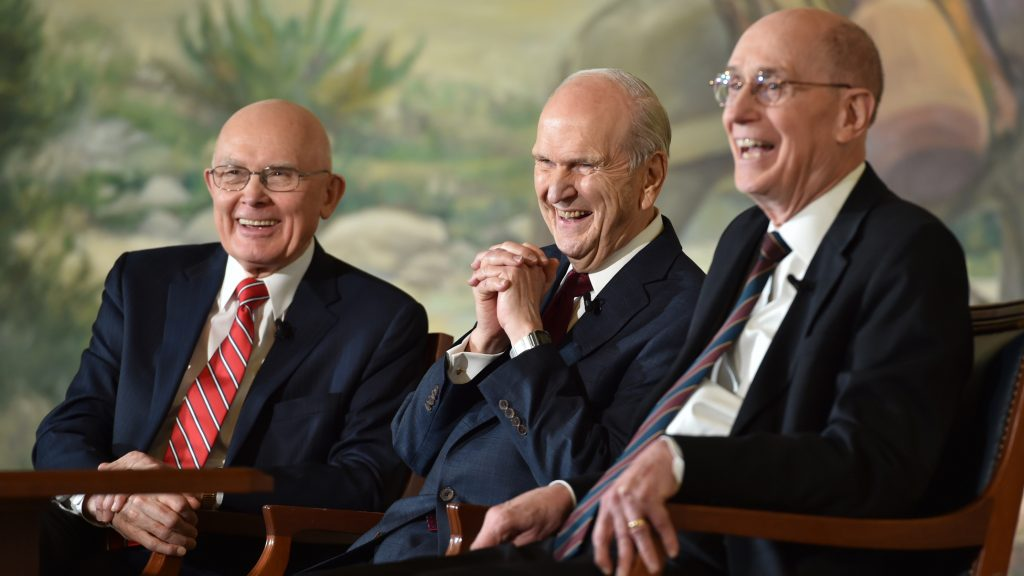 Mormon President Russel M. Nelson, center, and his counselors, President Dallin H. Oaks, left, and President Henry B. Eyring, right.