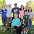 Montague family picture with Grandma B. She is 100 years old.