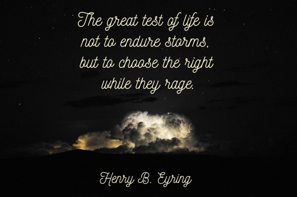 The great test of life is not to endure storms, but to choose the right while they rage. Henry B. Eyring