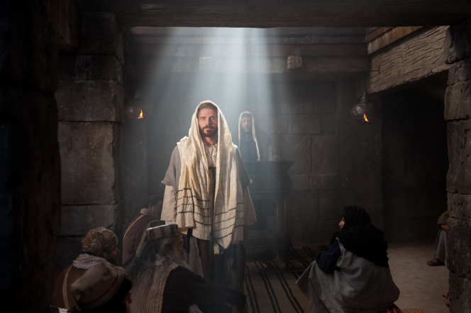 Jesus Christ teaching in the synagogue.